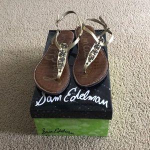 Gold T-strap Sam Edelman sandals